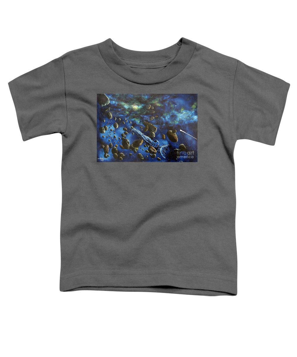 Canvas Toddler T-Shirt featuring the painting Accidental Asteroid by Murphy Elliott