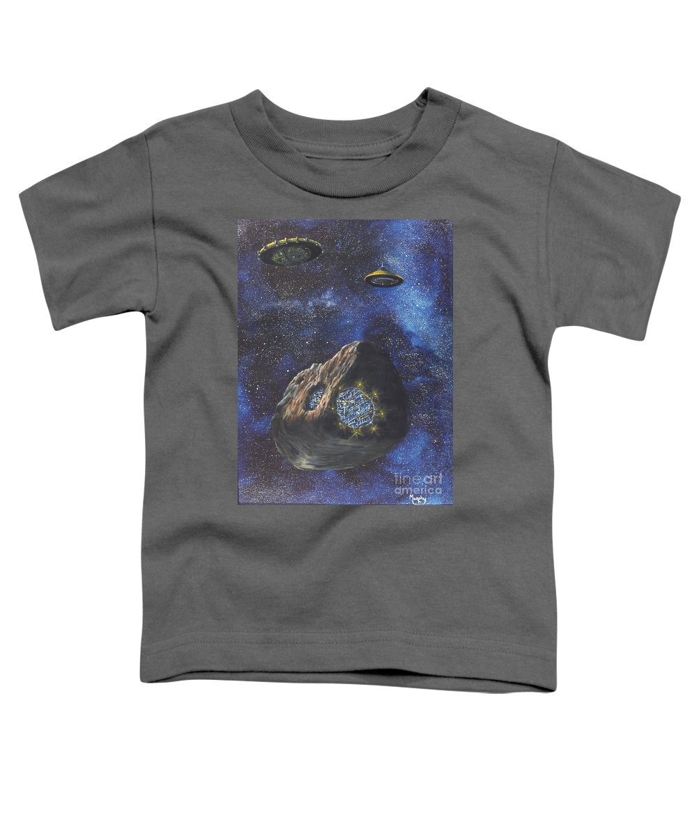 Painting Toddler T-Shirt featuring the painting Alien Space Factory by Murphy Elliott