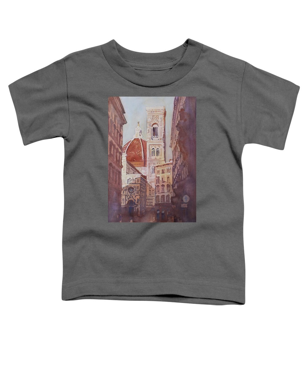Duomo Campainula Toddler T-Shirt featuring the painting And Suddenly The Duomo by Jenny Armitage