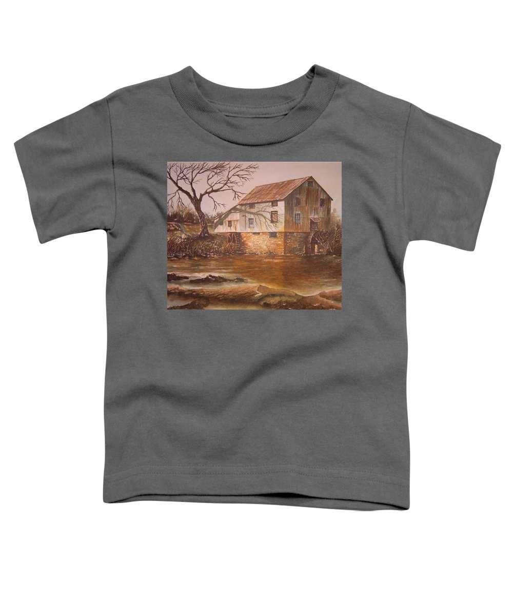 Landscape Toddler T-Shirt featuring the painting Anderson Mill by Ben Kiger