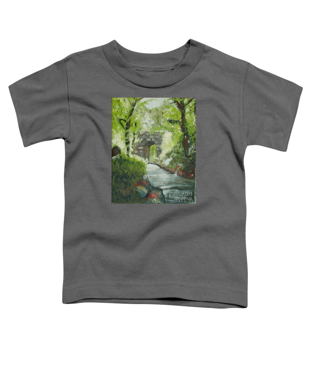 New York Toddler T-Shirt featuring the painting Archway In Central Park by Laurie Morgan
