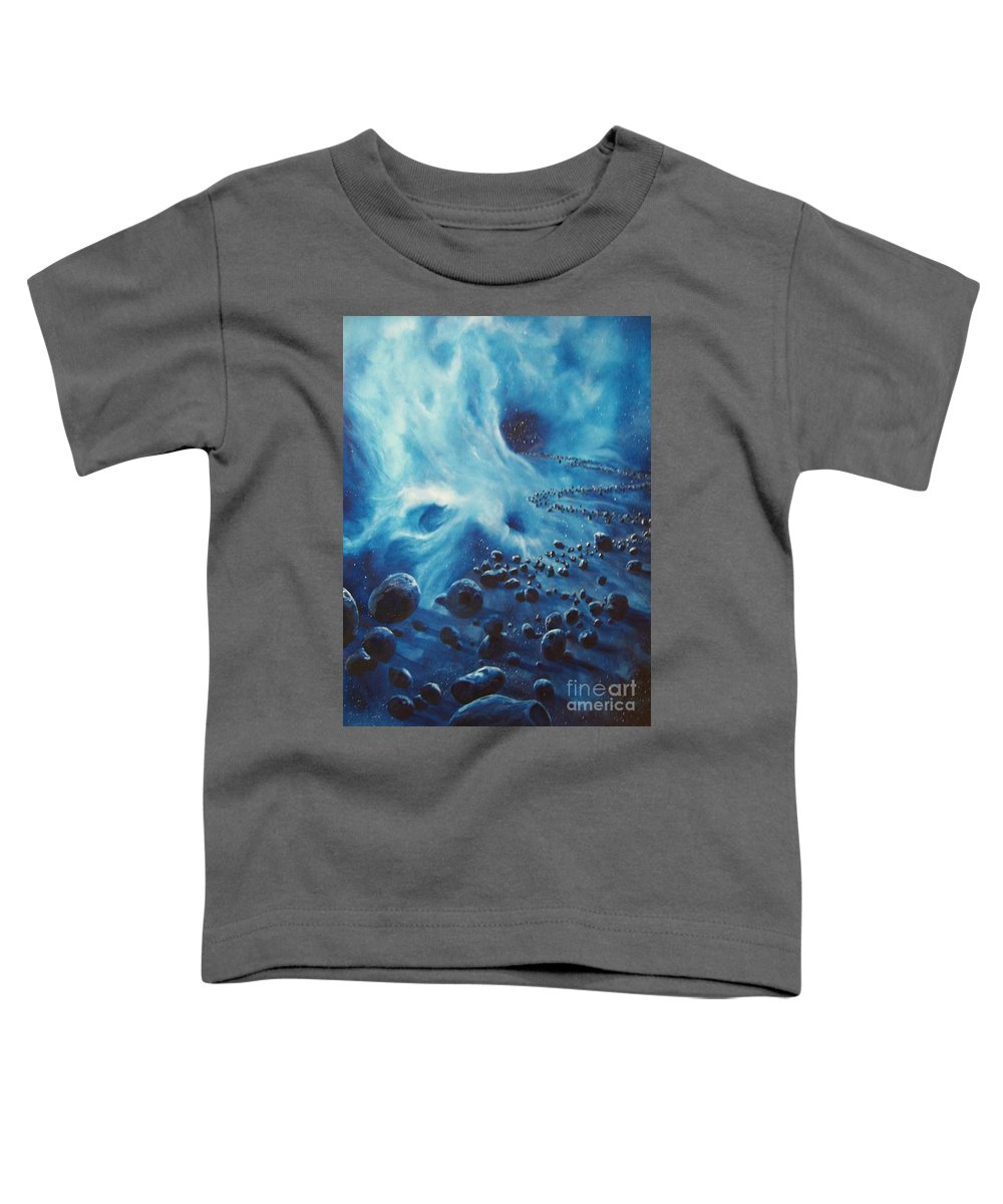 Si-fi Toddler T-Shirt featuring the painting Asteroid River by Murphy Elliott