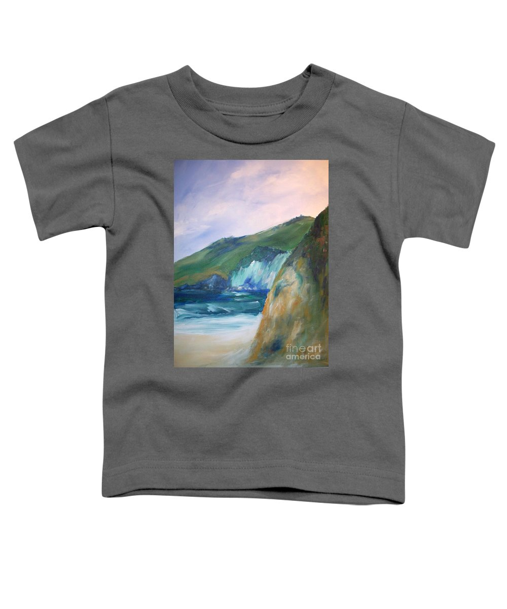 California Coast Toddler T-Shirt featuring the painting Beach California by Eric Schiabor
