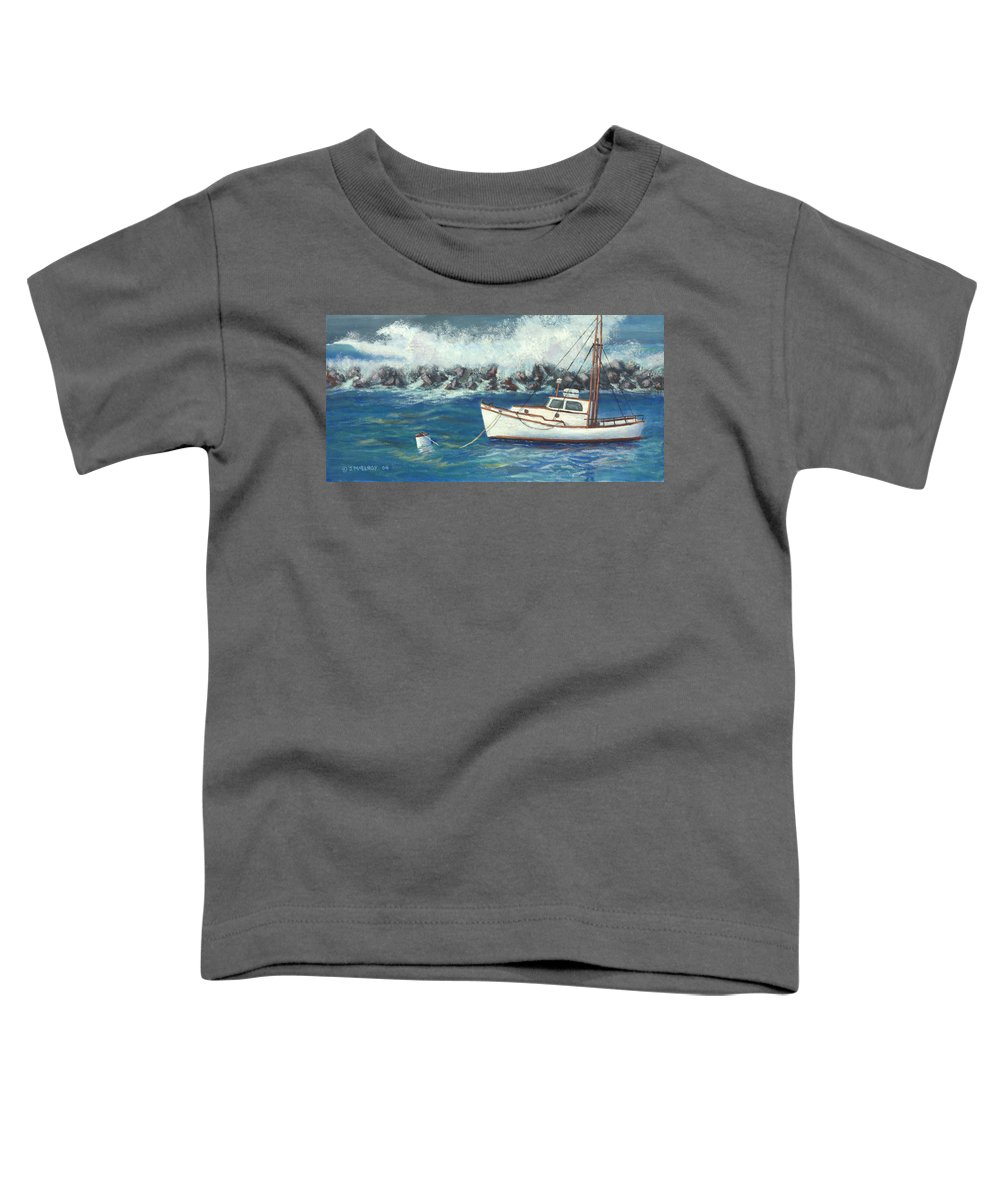 Ocean Toddler T-Shirt featuring the painting Behind The Breakwall by Jerry McElroy