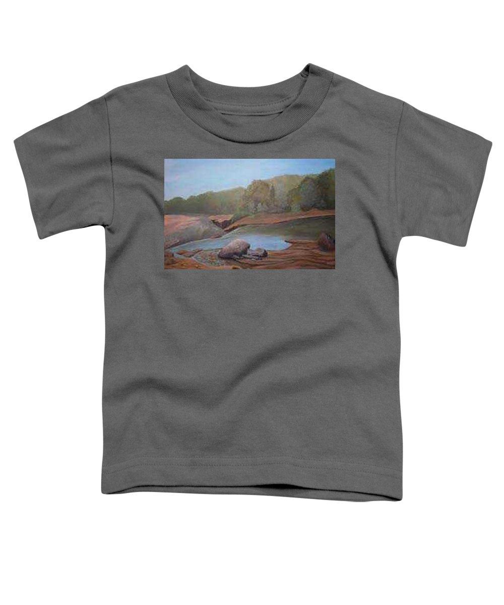 Rick Huotari Toddler T-Shirt featuring the painting Black River Falls by Rick Huotari