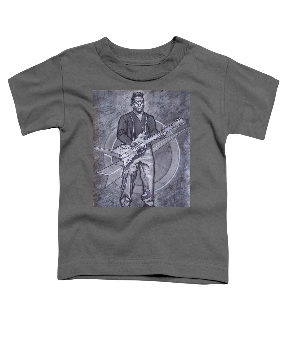 Texas;charcoal;king Of Rock;rock And Roll;music;1950s;blues;musician;funk;electric Guitar;marble;soul Toddler T-Shirt featuring the drawing Bo Diddley - Have Guitar Will Travel by Sean Connolly