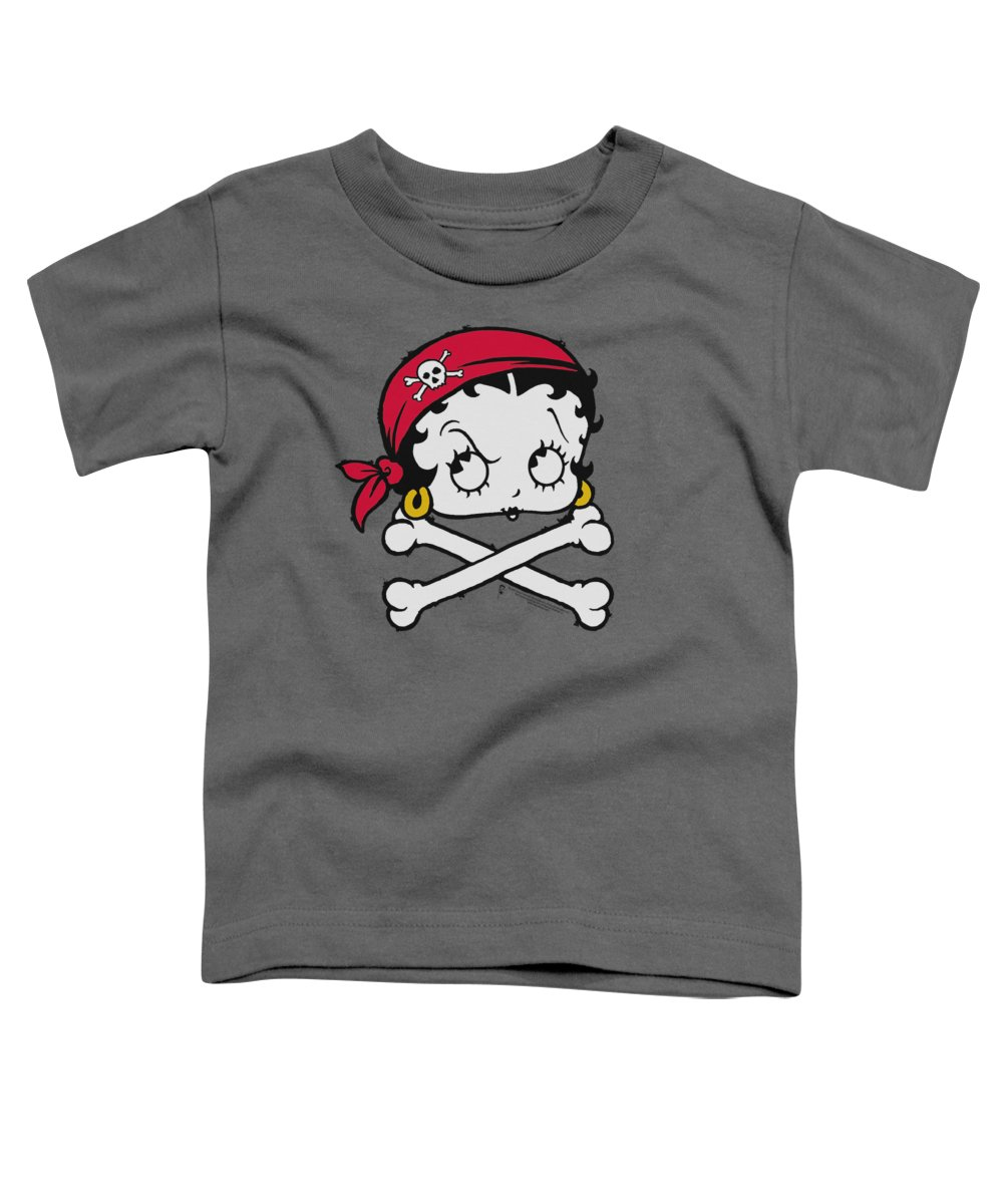 Betty Boop Toddler T-Shirt featuring the digital art Boop - Pirate by Brand A