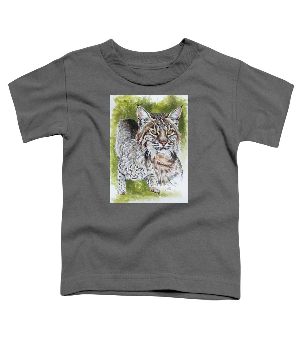 Small Cat Toddler T-Shirt featuring the mixed media Brassy by Barbara Keith