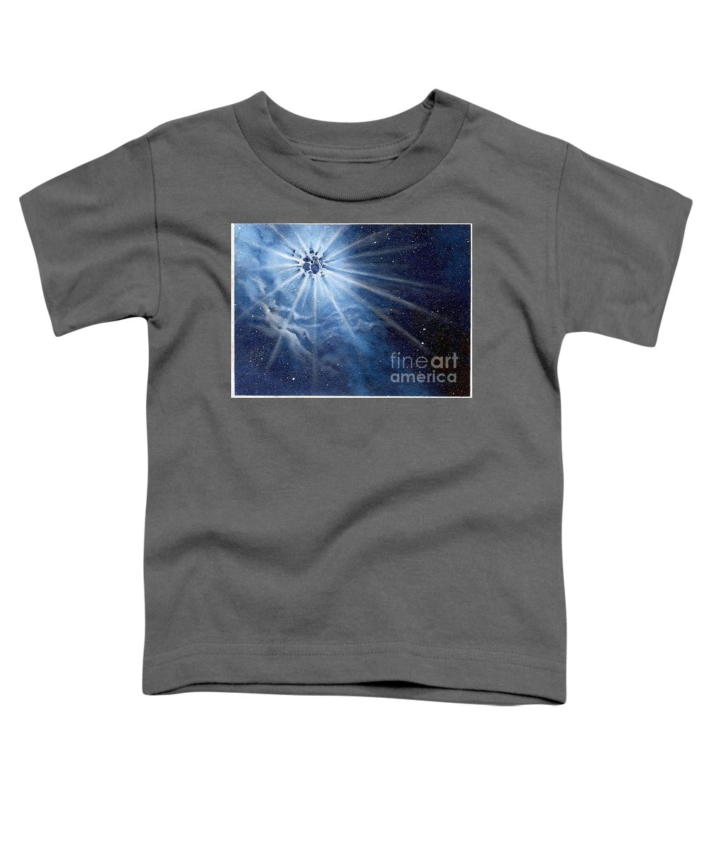 Outerspace Toddler T-Shirt featuring the painting Burst Of Light by Murphy Elliott