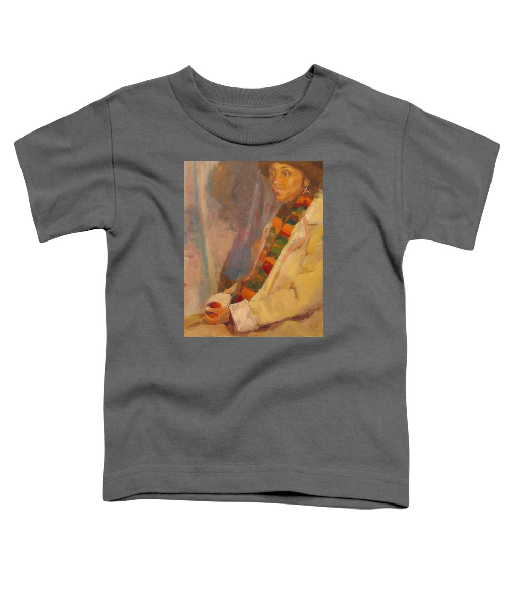 African-american Toddler T-Shirt featuring the painting Carol in Winter by Irena Jablonski