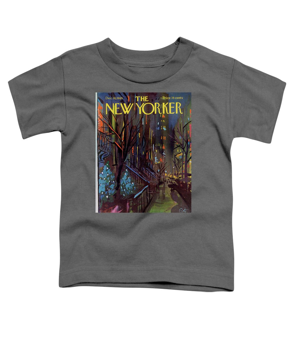 Christmas Toddler T-Shirt featuring the painting Christmas In New York by Arthur Getz