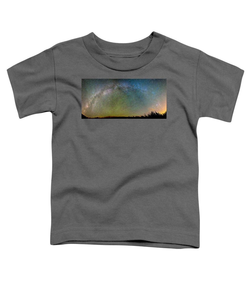 Milky Way Toddler T-Shirt featuring the photograph Colorado Indian Peaks Milky Way Panorama by James BO Insogna