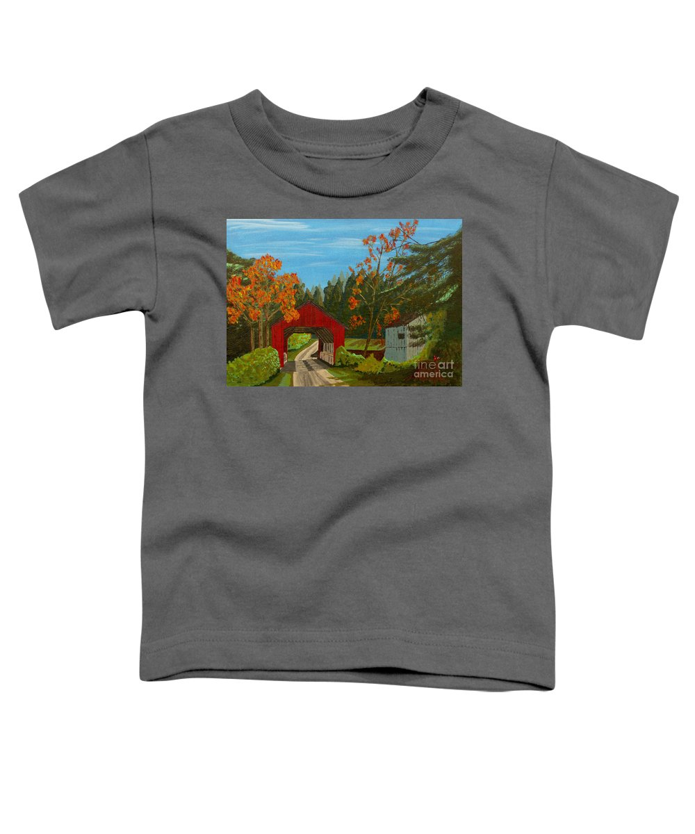 Path Toddler T-Shirt featuring the painting Covered Bridge by Anthony Dunphy