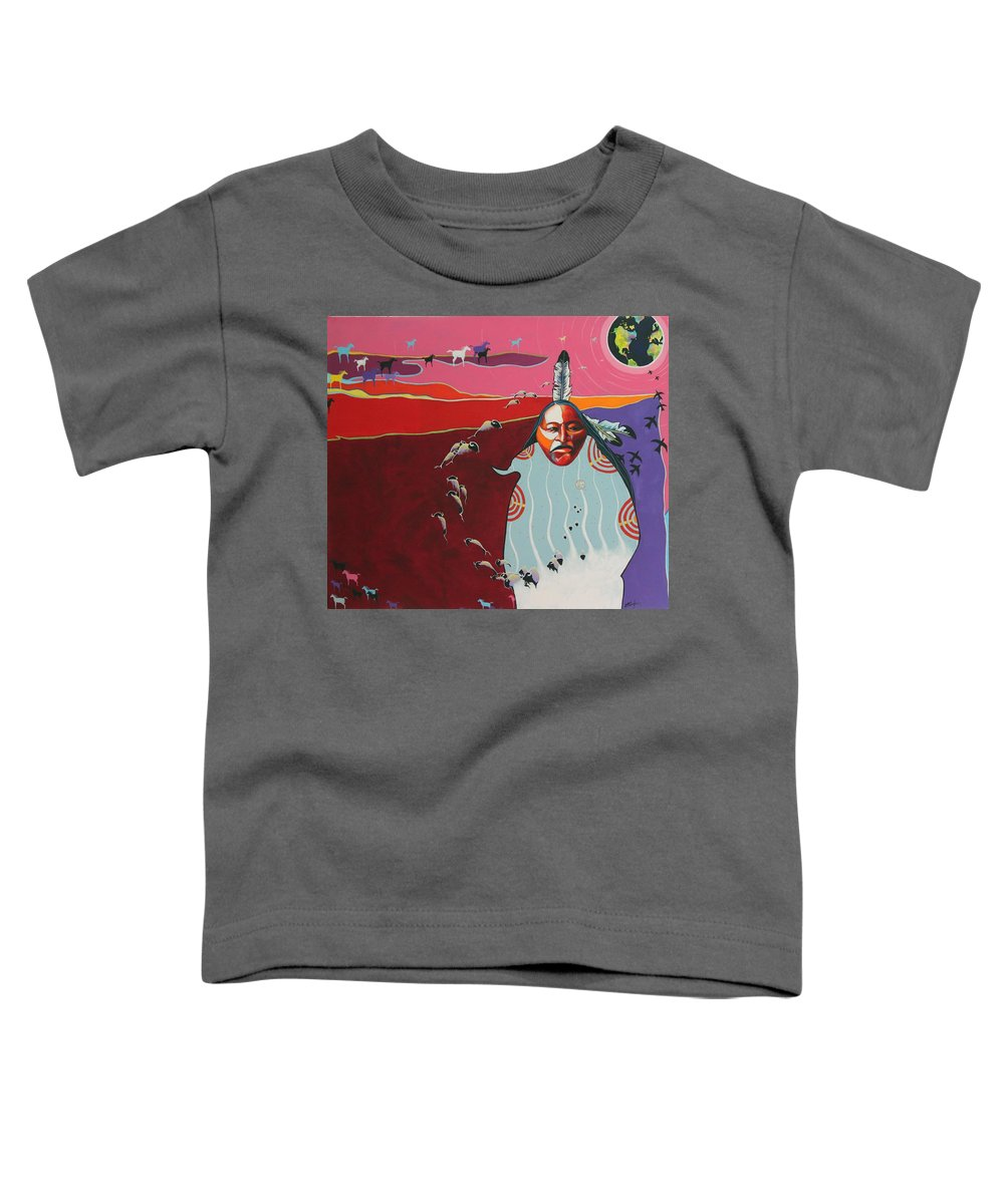 Native American Toddler T-Shirt featuring the painting Creation by Joe Triano