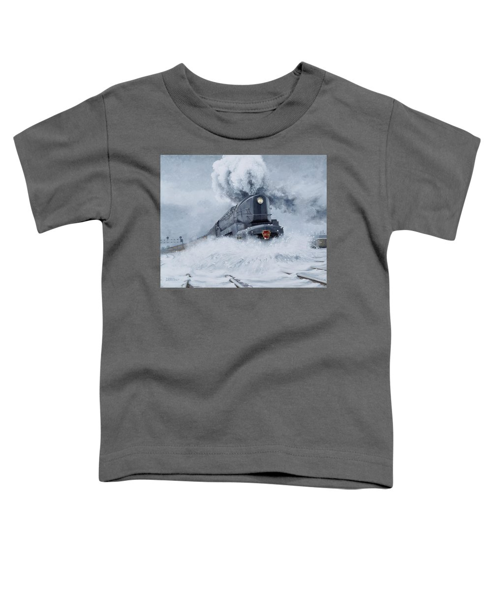Trains Toddler T-Shirt featuring the painting Dashing Through The Snow by David Mittner