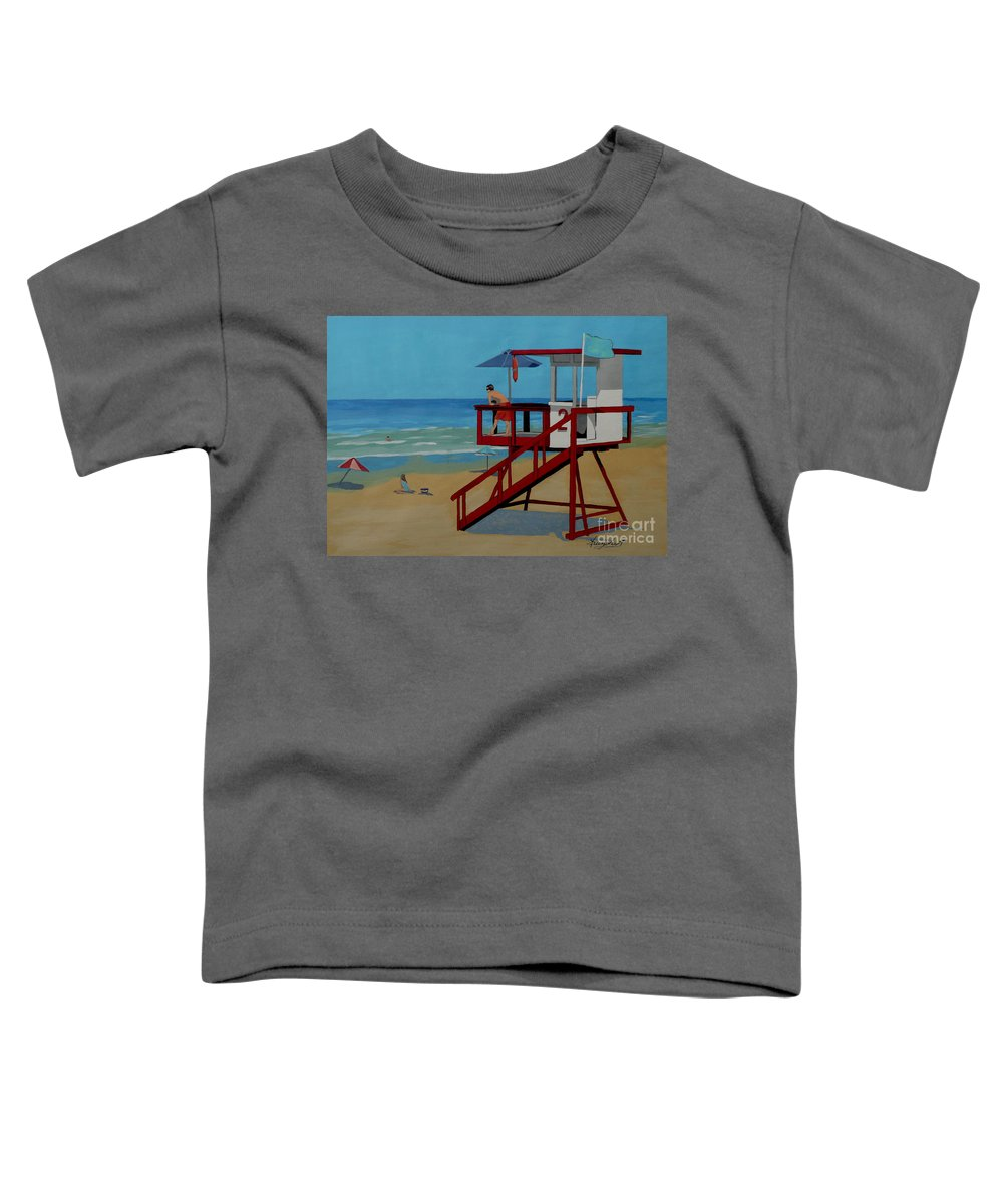 Lifeguard Toddler T-Shirt featuring the painting Distracted Lifeguard by Anthony Dunphy