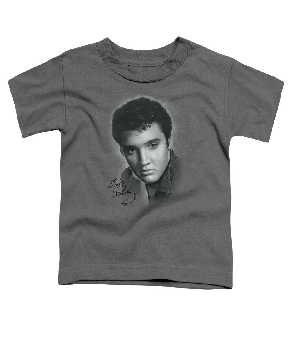 Elvis Toddler T-Shirt featuring the digital art Elvis - Grey Portrait by Brand A