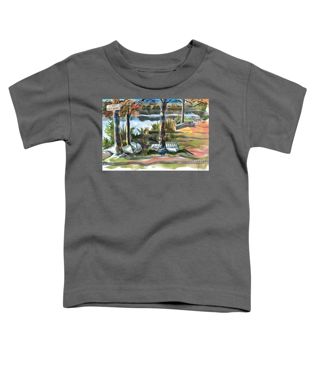 Evening Shadows At Shepherd Mountain Lake No W101 Toddler T-Shirt featuring the painting Evening Shadows At Shepherd Mountain Lake No W101 by Kip DeVore