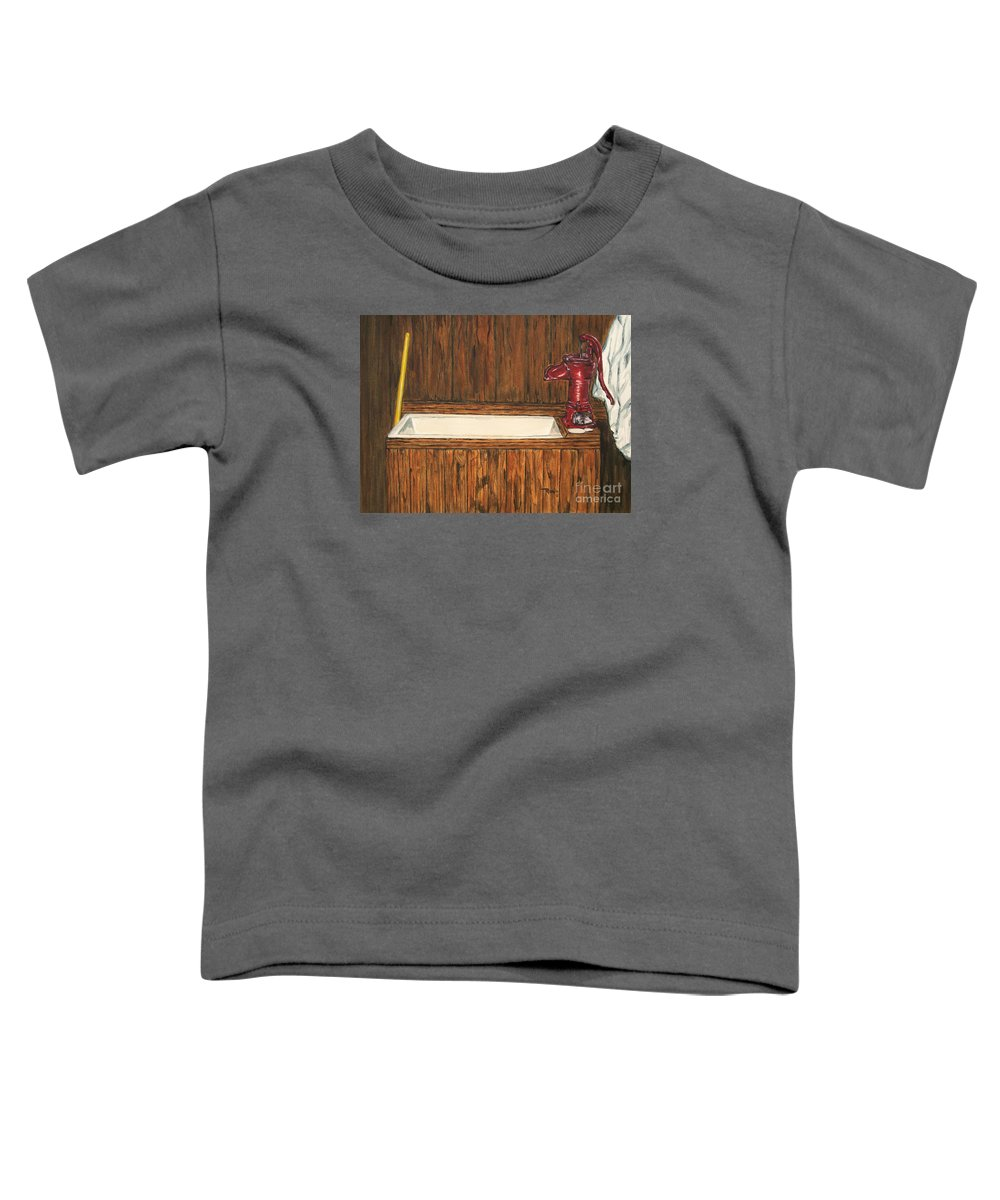 Farm Sink Toddler T-Shirt featuring the painting Farm Sink by Regan J Smith