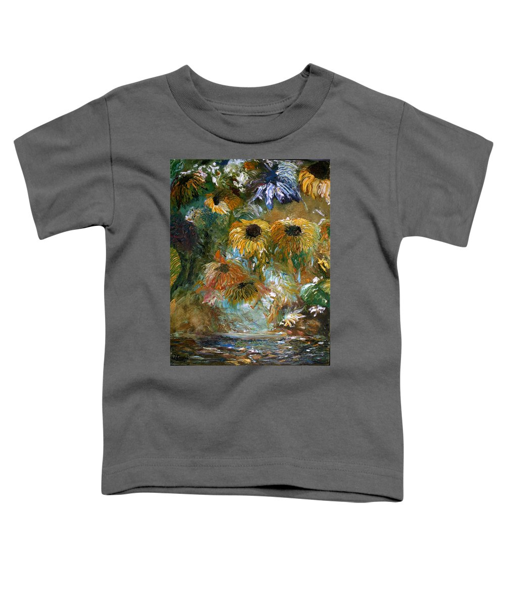 Flowers Toddler T-Shirt featuring the painting Flower Rain by Jack Diamond