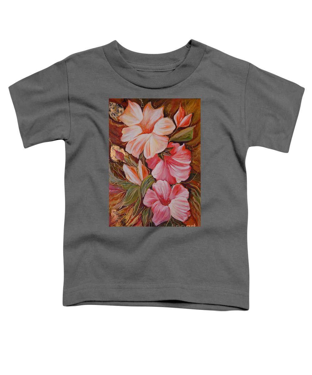 Modern Art Toddler T-Shirt featuring the painting Flowers II by Silvana Abel