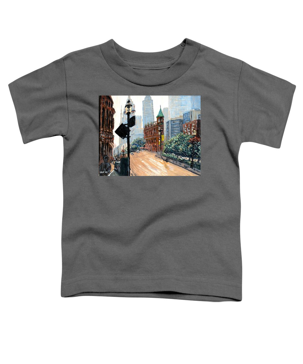 Toronto Toddler T-Shirt featuring the painting Front And Church by Ian MacDonald