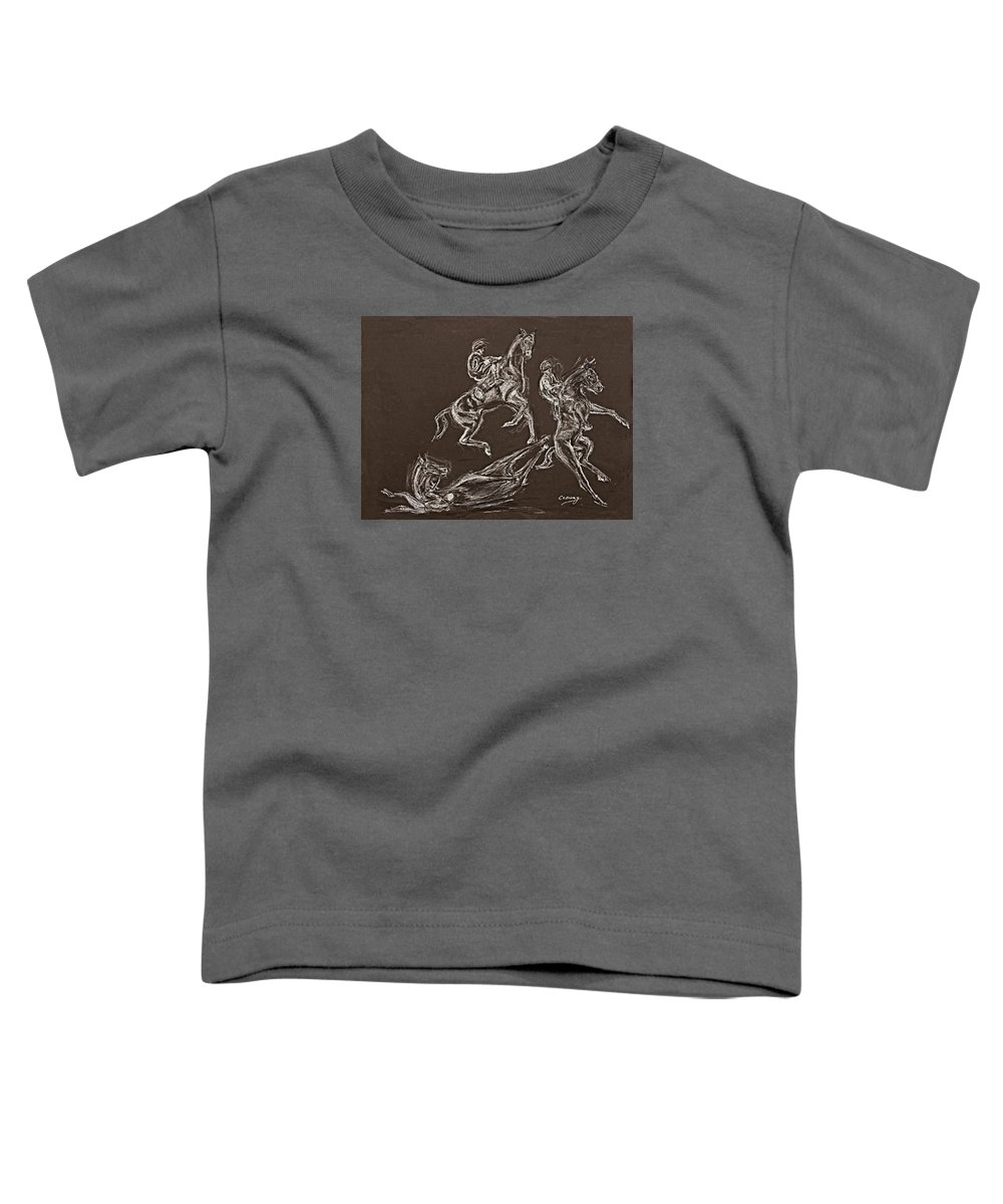 Rearing Horse Toddler T-Shirt featuring the drawing Ghost Riders In The Sky by Tom Conway