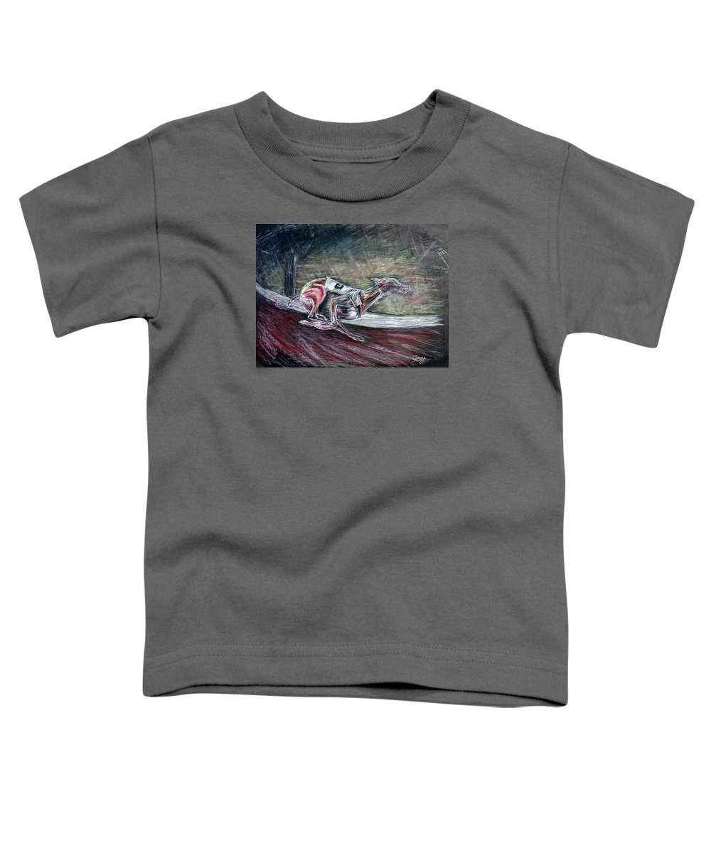 Dog Toddler T-Shirt featuring the drawing Greyhound Number Three by Tom Conway