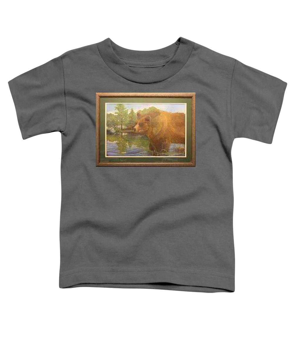 Rick Huotari Toddler T-Shirt featuring the painting Grizzly by Rick Huotari