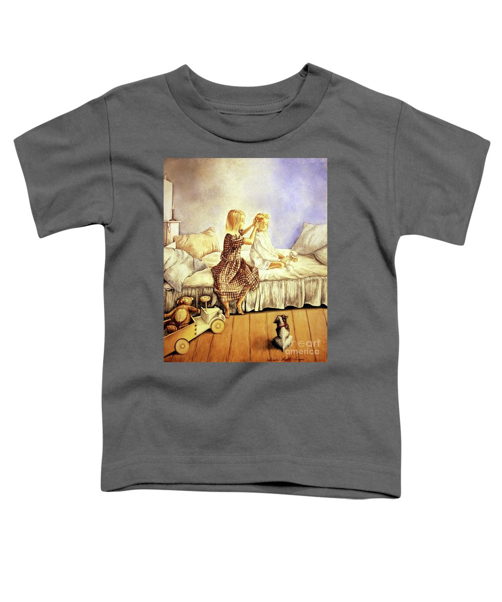 Animals Toddler T-Shirt featuring the painting Hands Of Devotion - Childhood by Linda Simon
