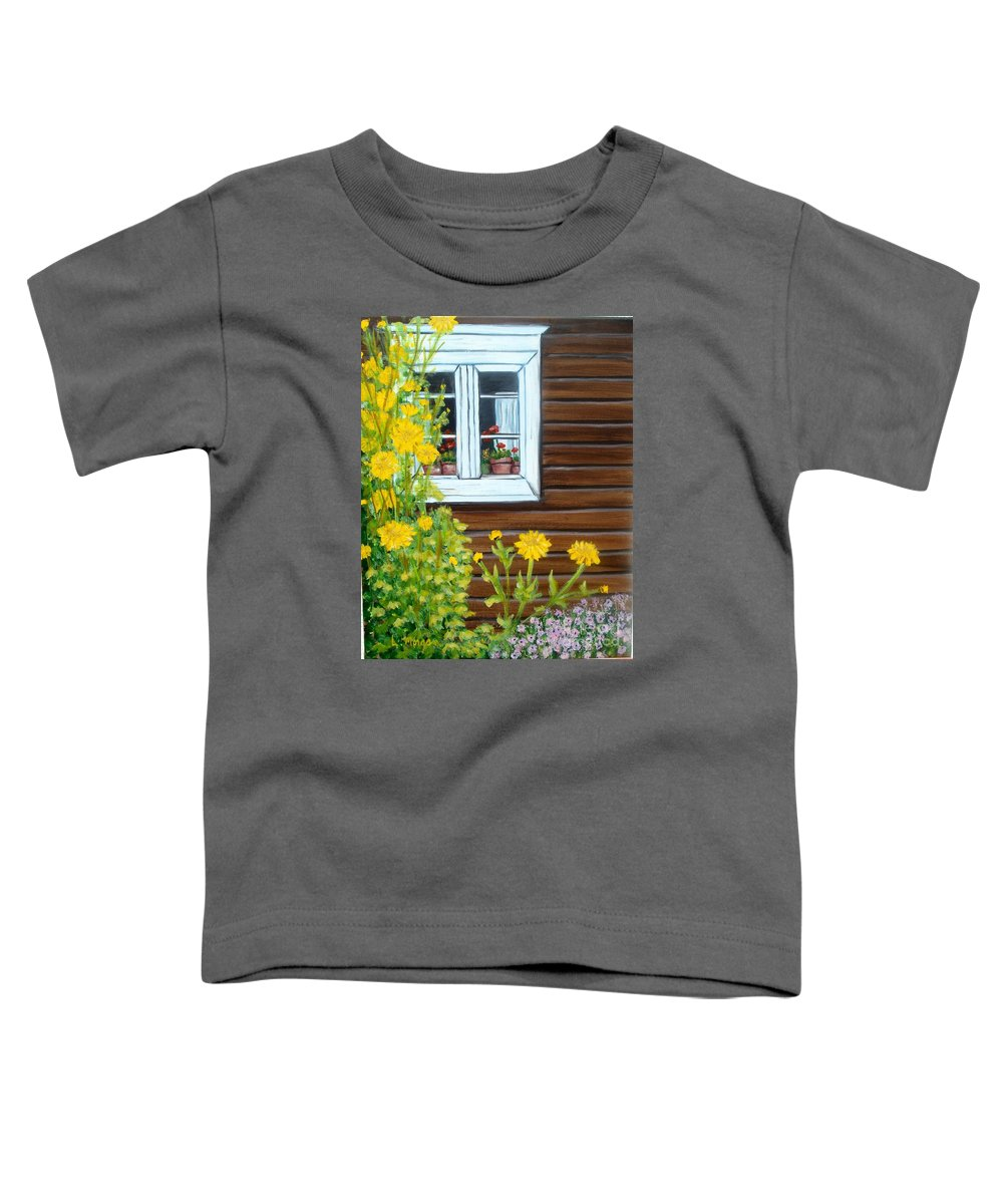 Window Toddler T-Shirt featuring the painting Happy Homestead by Laurie Morgan