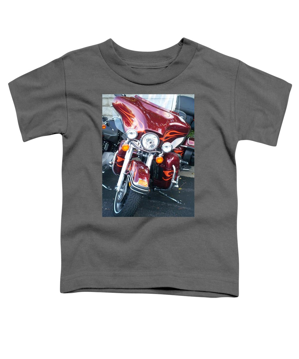 Motorcycles Toddler T-Shirt featuring the photograph Harley Red W Orange Flames by Anita Burgermeister