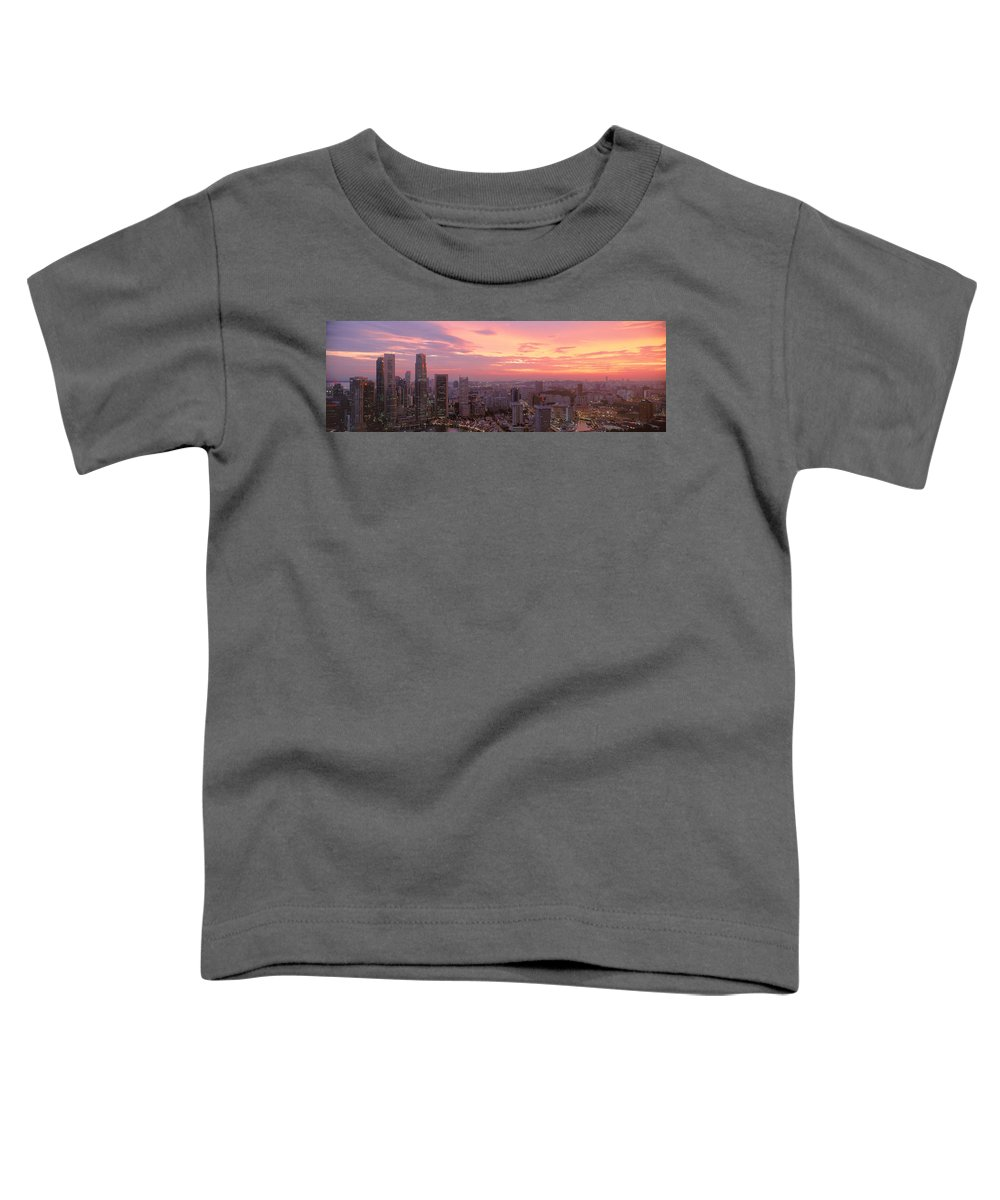 Photography Toddler T-Shirt featuring the photograph High Angle View Of A City At Sunset by Panoramic Images