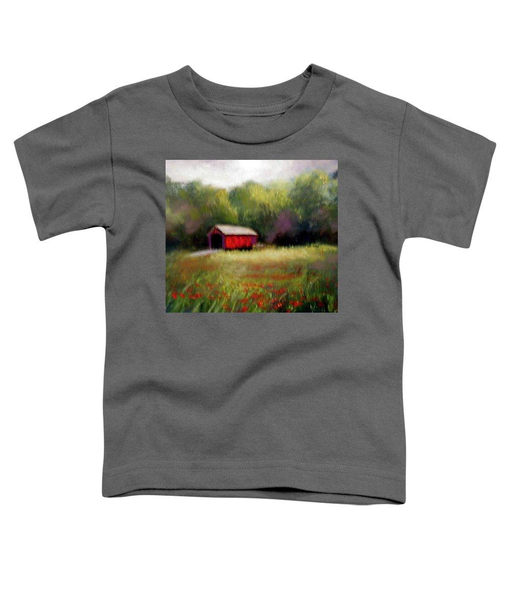 Covered Bridge Toddler T-Shirt featuring the painting Hune Bridge by Gail Kirtz