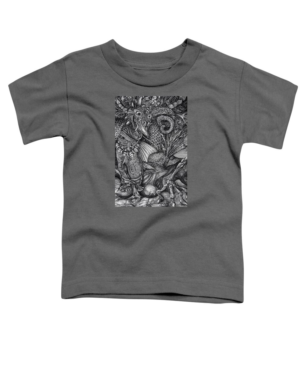 Surrealism Toddler T-Shirt featuring the drawing Jabberwockie by Otto Rapp