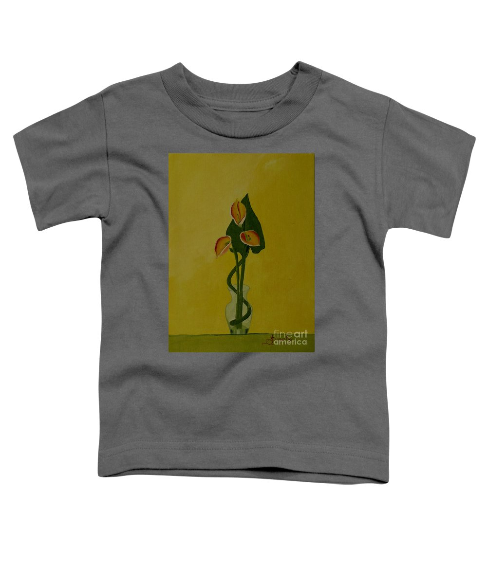 Japan Toddler T-Shirt featuring the painting Japanese Ikebana Arrangement by Anthony Dunphy