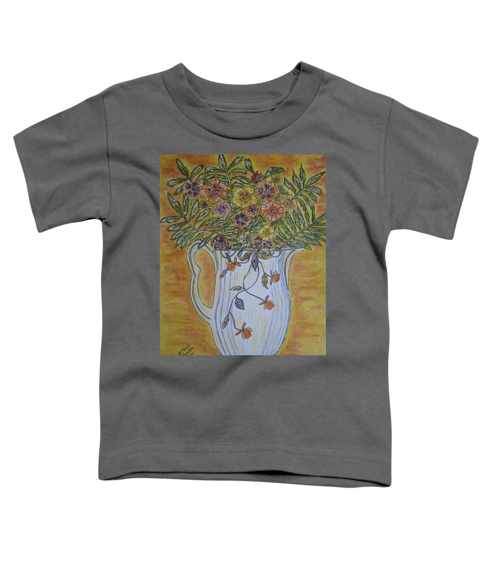 Jewel Tea Toddler T-Shirt featuring the painting Jewel Tea Pitcher With Marigolds by Kathy Marrs Chandler