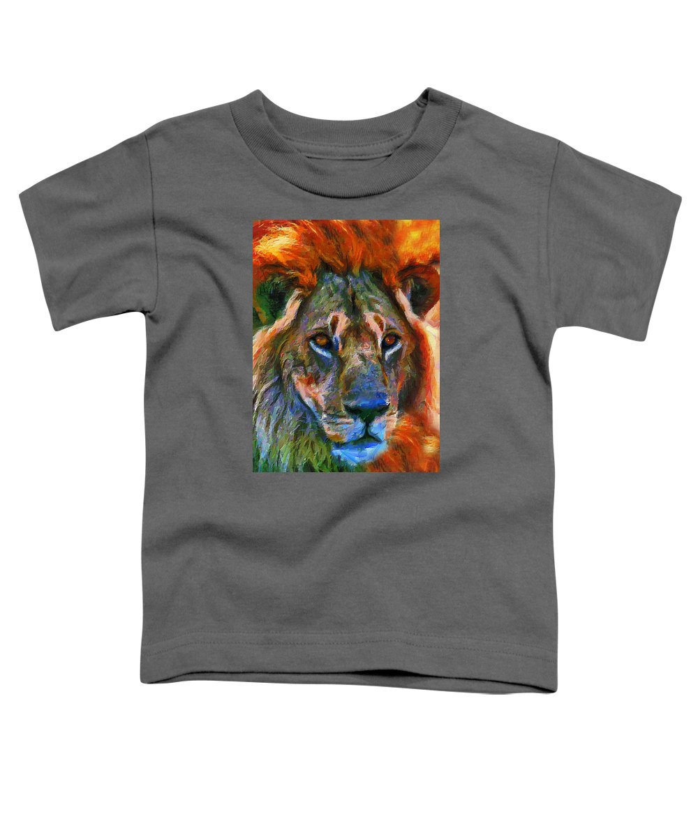 Lion Toddler T-Shirt featuring the mixed media King Of The Wilderness by Georgiana Romanovna