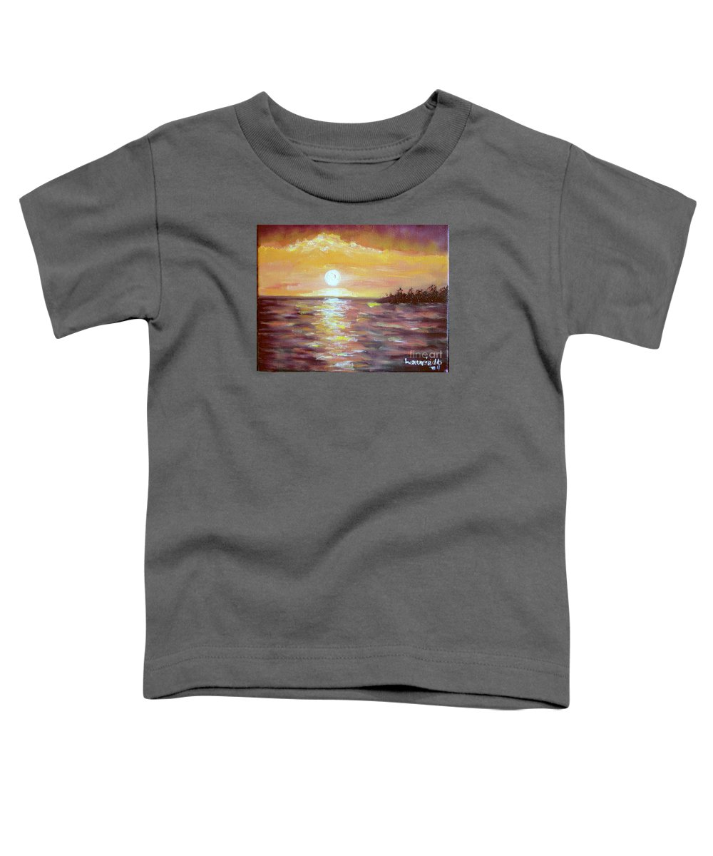 Sunset Toddler T-Shirt featuring the painting Kona Sunset by Laurie Morgan