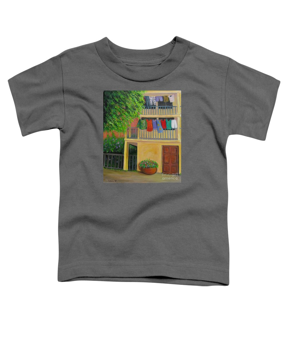Laundry Toddler T-Shirt featuring the painting Laundry Day by Laurie Morgan