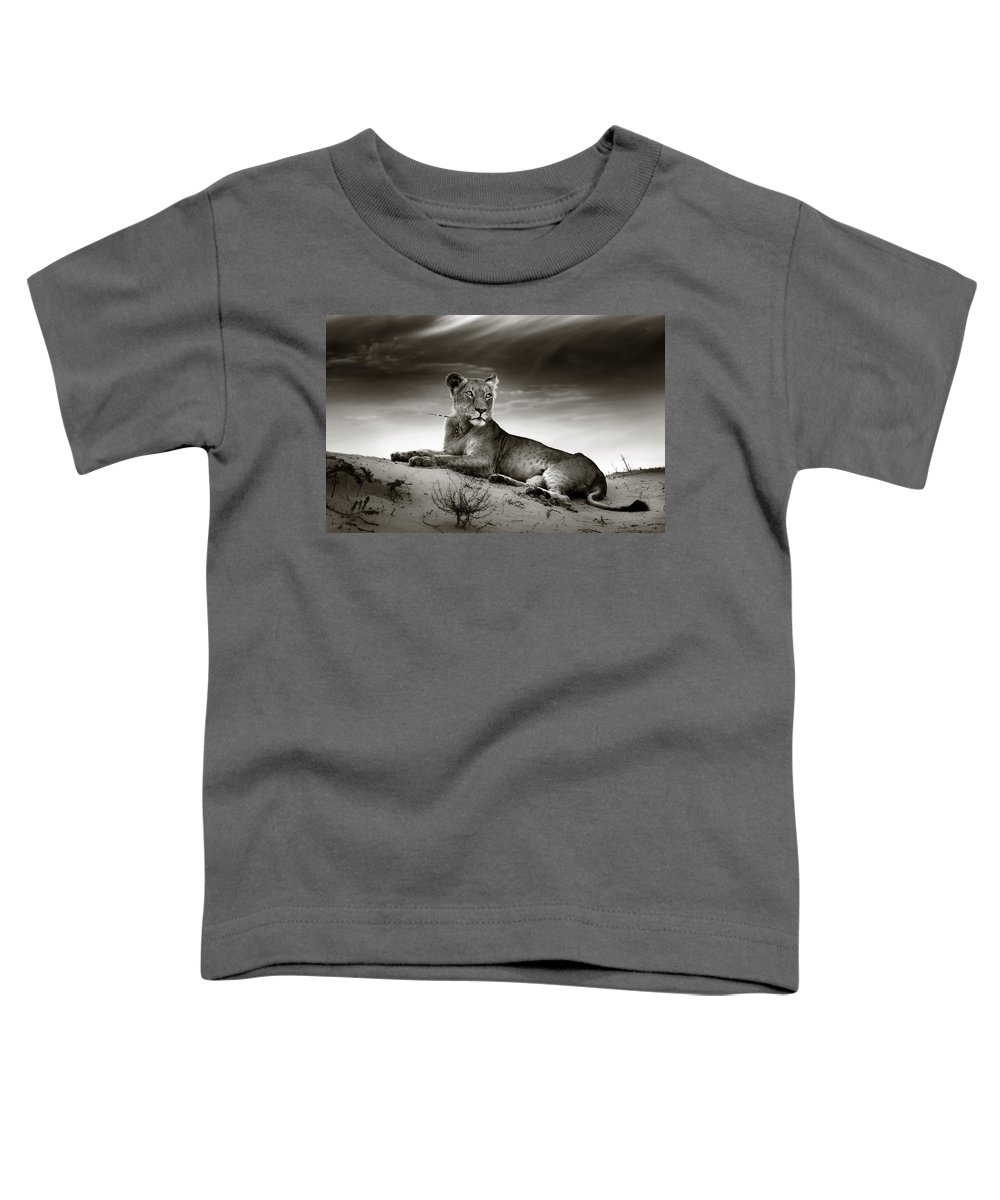 Lion Toddler T-Shirt featuring the photograph Lioness On Desert Dune by Johan Swanepoel