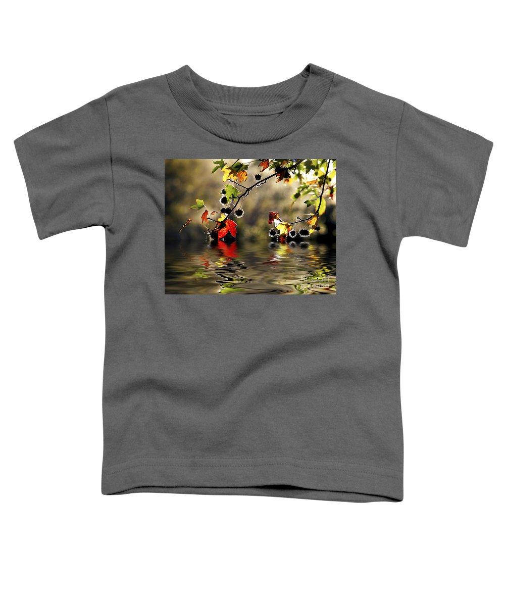 Liquidambar Maple Autumn Fall Flood Water Reflection Toddler T-Shirt featuring the photograph Liquidambar In Flood by Sheila Smart Fine Art Photography