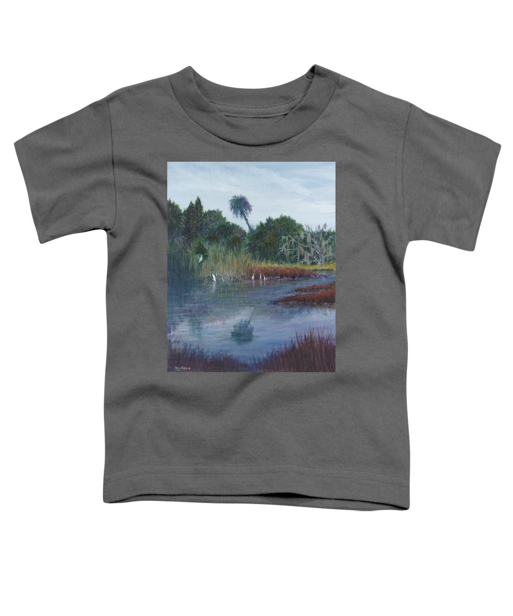 Landscape Toddler T-Shirt featuring the painting Low Country Social by Ben Kiger