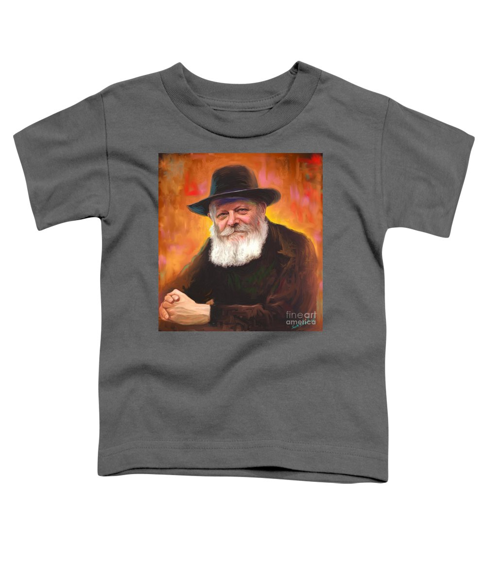 Lubavitcher Rebbe Toddler T-Shirt featuring the painting Lubavitcher Rebbe by Sam Shacked