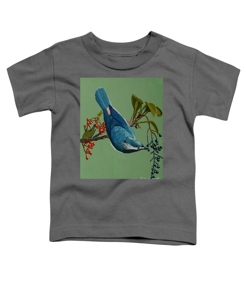 Bird Toddler T-Shirt featuring the painting Lunch Time For Blue Bird by Anthony Dunphy
