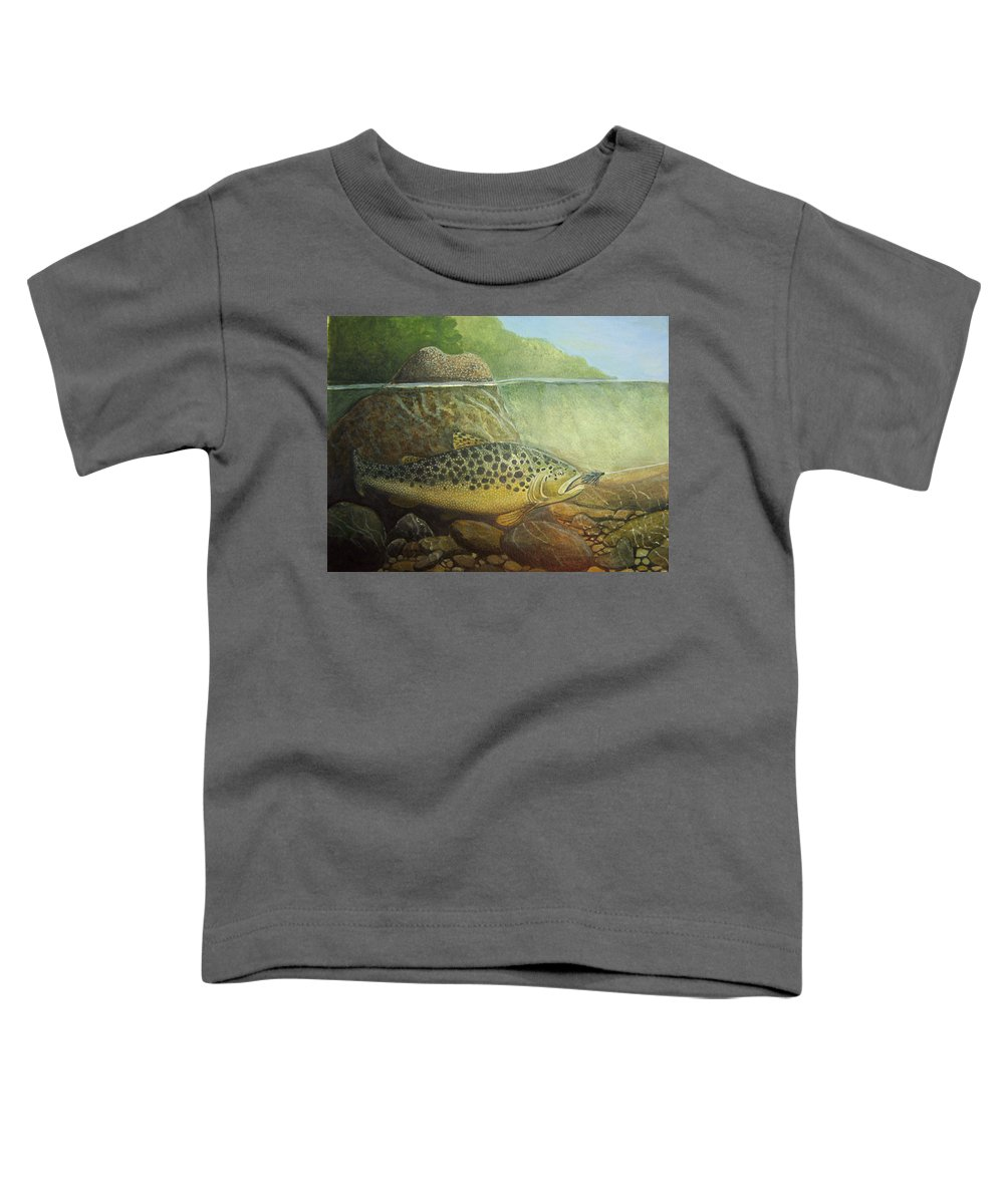 Rick Huotari Toddler T-Shirt featuring the painting Lurking by Rick Huotari