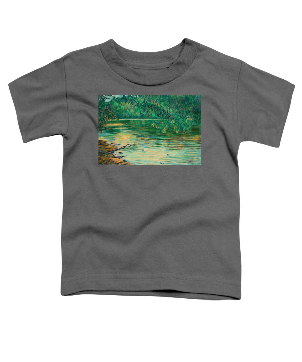 Landscape Toddler T-Shirt featuring the painting Mid-spring On The New River by Kendall Kessler