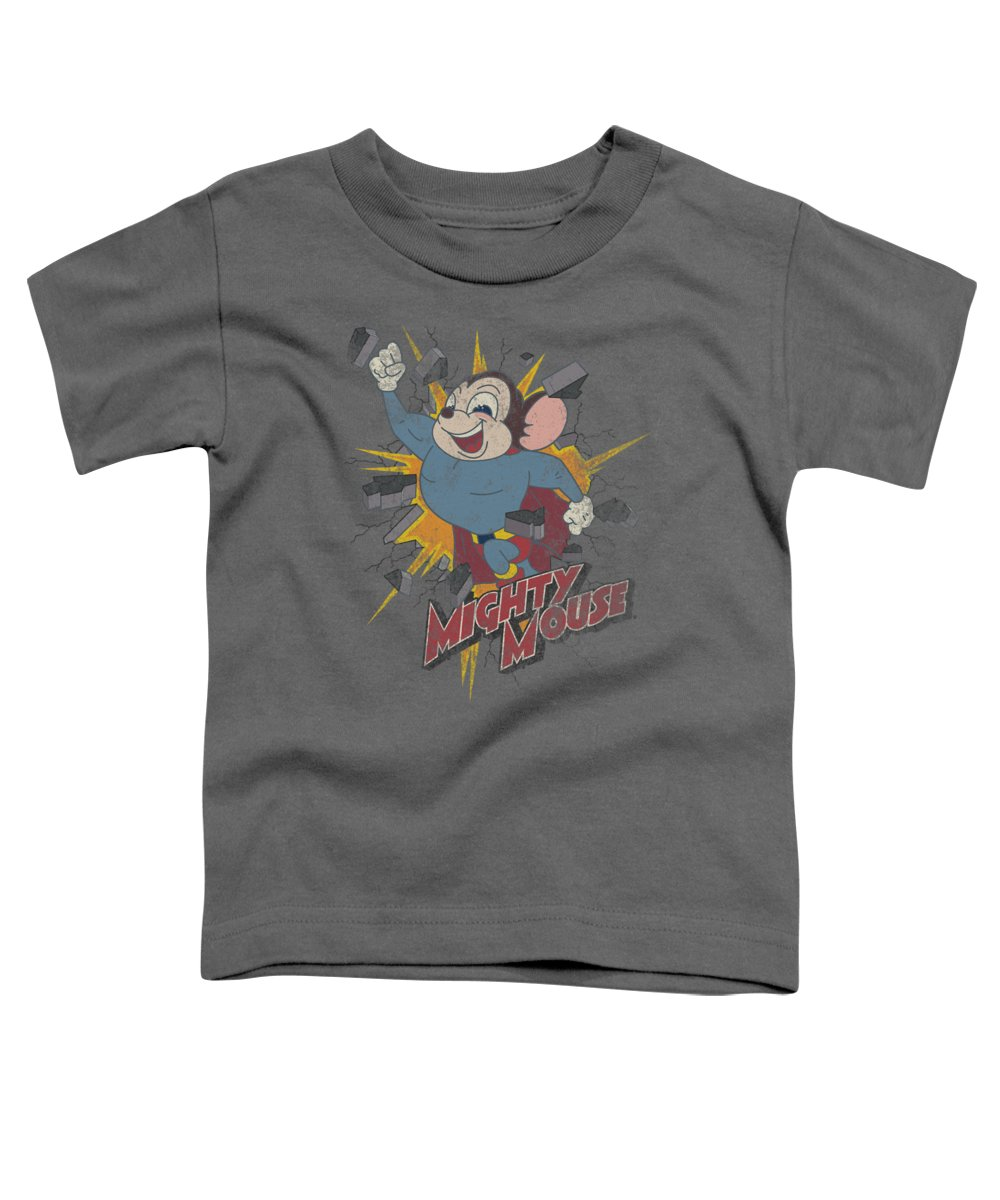 Mighty Mouse Toddler T-Shirt featuring the digital art Mighty Mouse - Break Through by Brand A