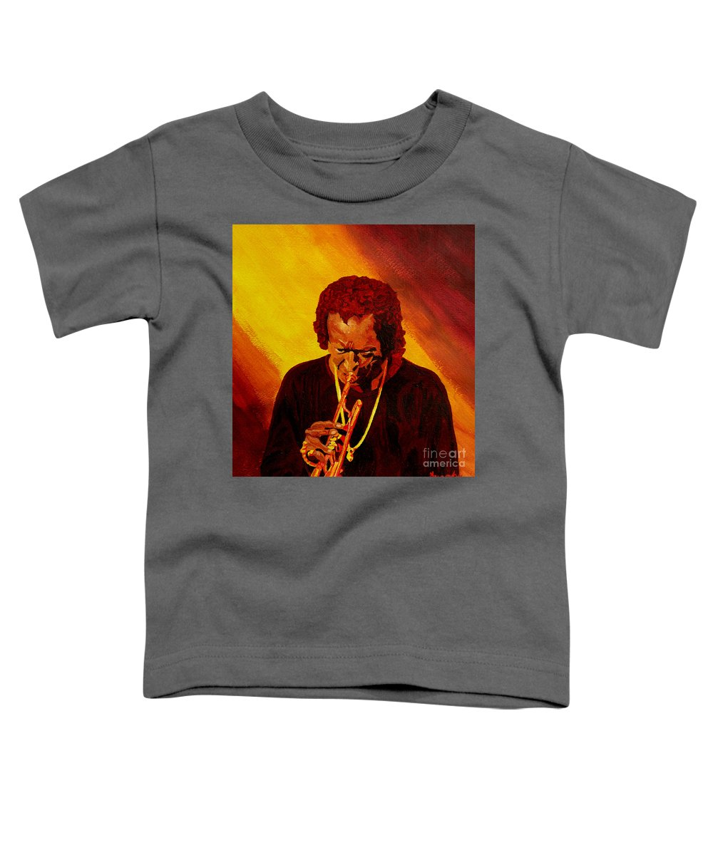 Miles Davis Toddler T-Shirt featuring the painting Miles Davis Jazz Man by Anthony Dunphy