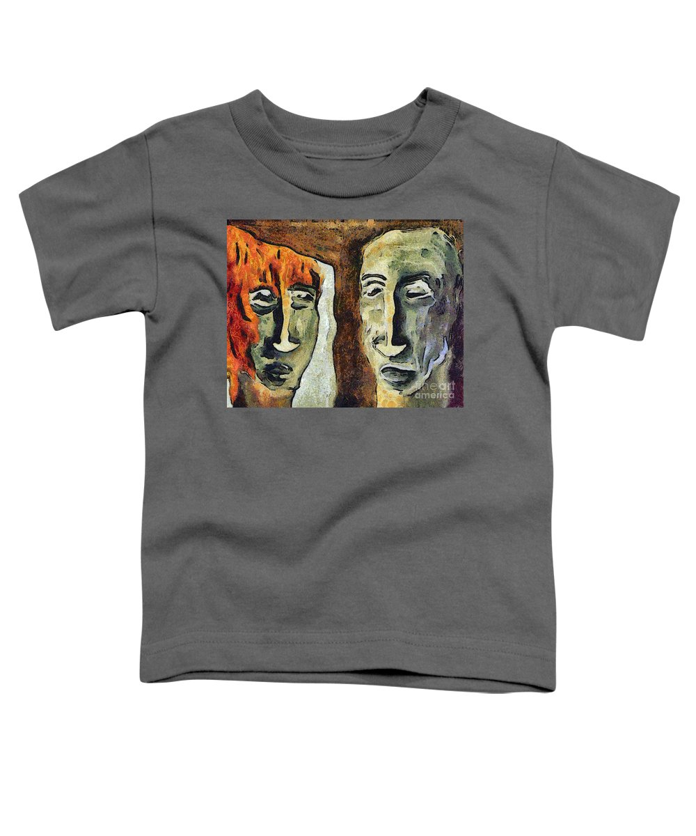 Abstract Toddler T-Shirt featuring the mixed media Mirroring - Retrospect by Michal Boubin